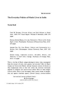 The Everyday Politics of Hindu Lives in India