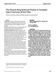 The Ilizarov Ring External Fixator in Complex Open Fractures of the Tibia