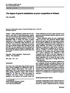 The impact of generic substitution on price competition in Finland