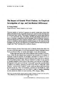 The impact of generic word choices: An empirical investigation of age- and sex-related differences