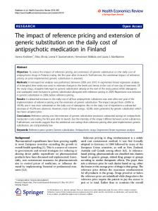 The impact of reference pricing and extension of generic substitution on the daily cost of antipsychotic medication in Finland