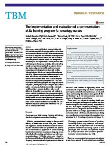 The implementation and evaluation of a communication skills training program for oncology nurses