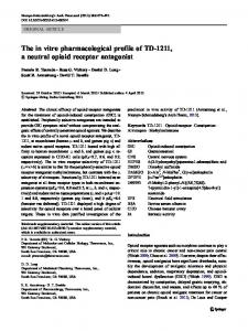 The in vitro pharmacological profile of TD-1211, a neutral opioid receptor antagonist