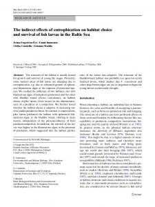 The indirect effects of eutrophication on habitat choice and survival of fish larvae in the Baltic Sea