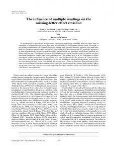 The influence of multiple readings on the missing-letter effect revisited