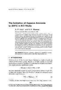 The ionization of aqueous ammonia to 300°C in KCl media