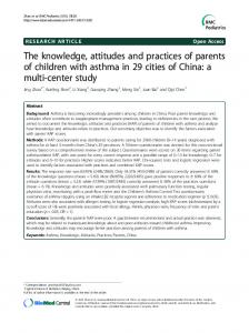 The knowledge, attitudes and practices of parents of children with asthma in 29 cities of China: a multi-center study