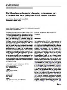 The lithosphere–asthenosphere boundary in the eastern part of the Dead Sea Basin (DSB) from S-to-P receiver functions