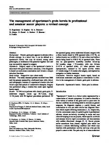 The management of sportsman's groin hernia in professional and amateur soccer players: a revised concept