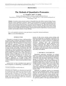 The methods of quantitative proteomics