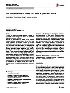 The natural history of rotator cuff tears: a systematic review