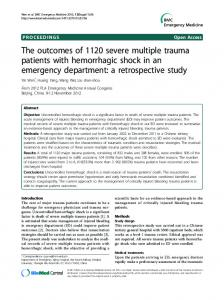 The outcomes of 1120 severe multiple trauma patients with hemorrhagic shock in an emergency department: a retrospective study