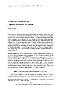 The placebo effect and the cognitive-behavioral revolution