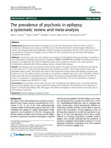 The prevalence of psychosis in epilepsy; a systematic review and meta-analysis