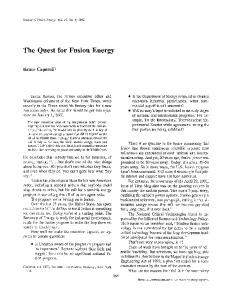 The quest for fusion energy