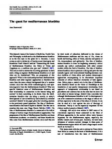 The quest for mediterranean bioethics