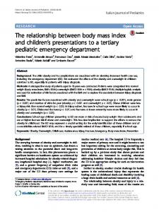 The relationship between body mass index and children's presentations to a tertiary pediatric emergency department