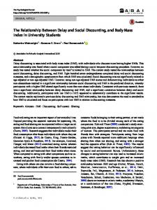 The Relationship Between Delay and Social Discounting, and Body Mass Index in University Students
