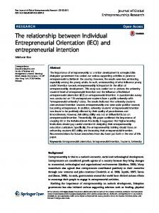 The relationship between Individual Entrepreneurial Orientation (IEO) and entrepreneurial intention