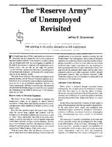 """The """"reserve army"""" of unemployed revisited"""