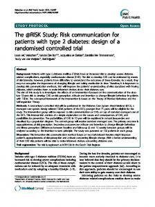 The @RISK Study: Risk communication for patients with type 2 diabetes: design of a randomised controlled trial