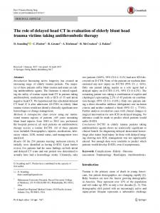 The role of delayed head CT in evaluation of elderly blunt head trauma victims taking antithrombotic therapy