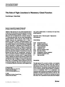 The Role of Tight Junctions in Mammary Gland Function