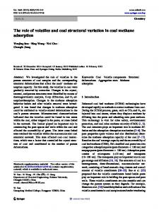 The role of volatiles and coal structural variation in coal methane adsorption