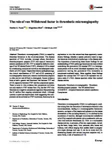 The role of von Willebrand factor in thrombotic microangiopathy