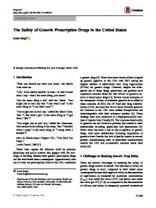 The Safety of Generic Prescription Drugs in the United States