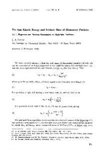 The spin kinetic energy and intrinsic mass of elementary particles