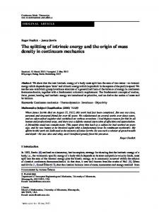 The splitting of intrinsic energy and the origin of mass density in continuum mechanics