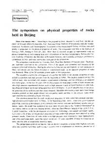 The symposium on physical properties of rocks held in Beijing