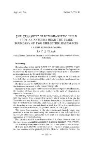 The transient electromagnetic field from an antenna near the plane boundary of two dielectric halfspaces