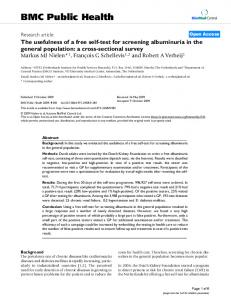 The usefulness of a free self-test for screening albuminuria in the general population: a cross-sectional survey