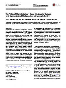 The Value of Multidisciplinary Team Meetings for Patients with Gastrointestinal Malignancies: A Systematic Review