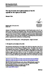 The way forward: the implementation of the EU Agenda for the rights of the child