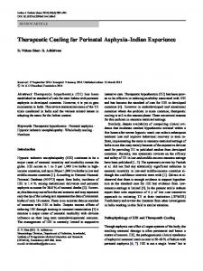 Therapeutic Cooling for Perinatal Asphyxia-Indian Experience