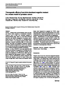 Therapeutic effects of survivin dominant negative mutant in a mouse model of prostate cancer