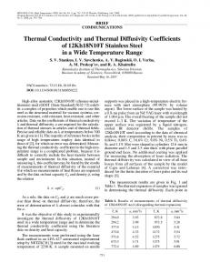 Thermal conductivity and thermal diffusivity coefficients of 12Kh18N10T stainless steel in a wide temperature range