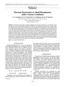 Thermal inactivation of alkali phosphatases under various conditions