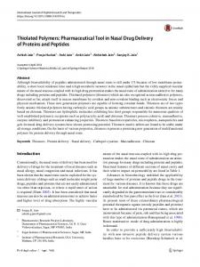 Thiolated Polymers: Pharmaceutical Tool in Nasal Drug Delivery of Proteins and Peptides
