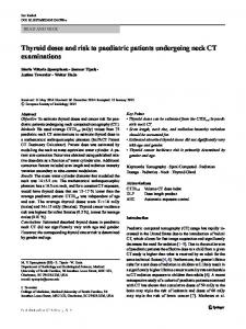 Thyroid doses and risk to paediatric patients undergoing neck CT examinations