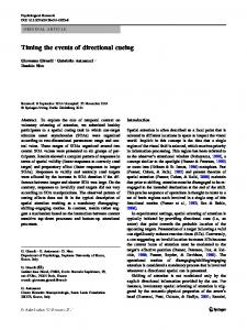 Timing the events of directional cueing