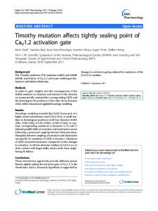 Timothy mutation affects tightly sealing point of CaV1.2 activation gate