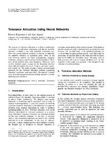 Tolerance allocation using neural networks