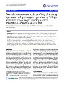 Towards real-time metabolic profiling of a biopsy specimen during a surgical operation by 1H high resolution magic angle spinning nuclear magnetic resonance: a case report
