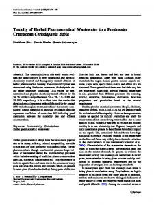 Toxicity of Herbal Pharmaceutical Wastewater to a Freshwater Crustacean Ceriodaphnia dubia