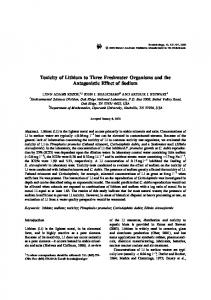 Toxicity of Lithium to Three Freshwater Organisms and the Antagonistic Effect of Sodium