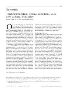 Tracheal intubation: optimal conditions, vocal cord damage, and allergy